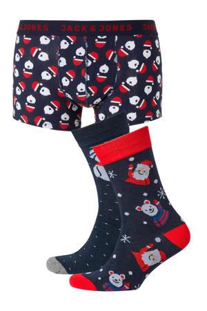 giftbox boxershort + sokken met kerst print