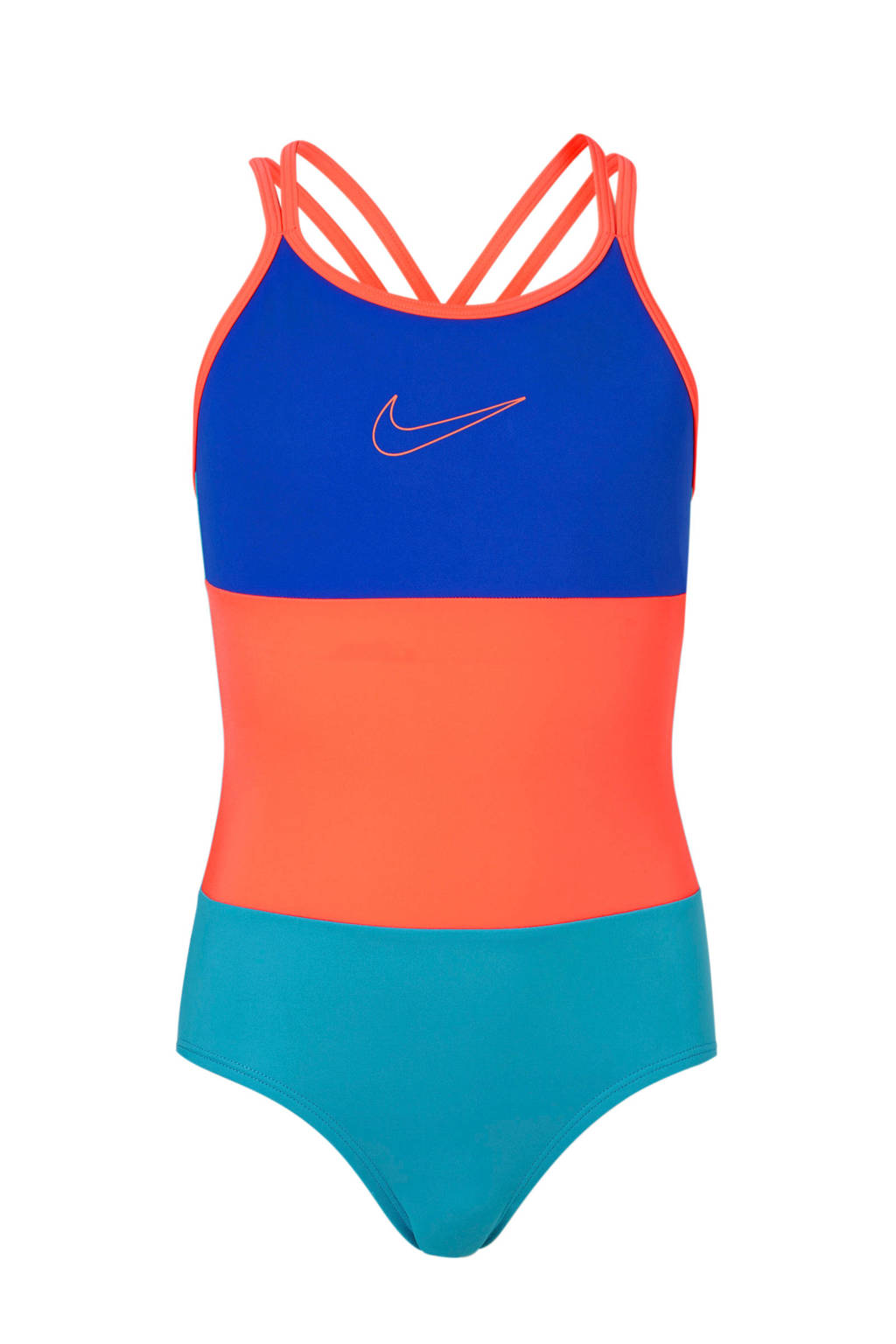 Nike sportbadpak met gekruiste bandjes neon roze, Neon roze/ blauw/turquoise
