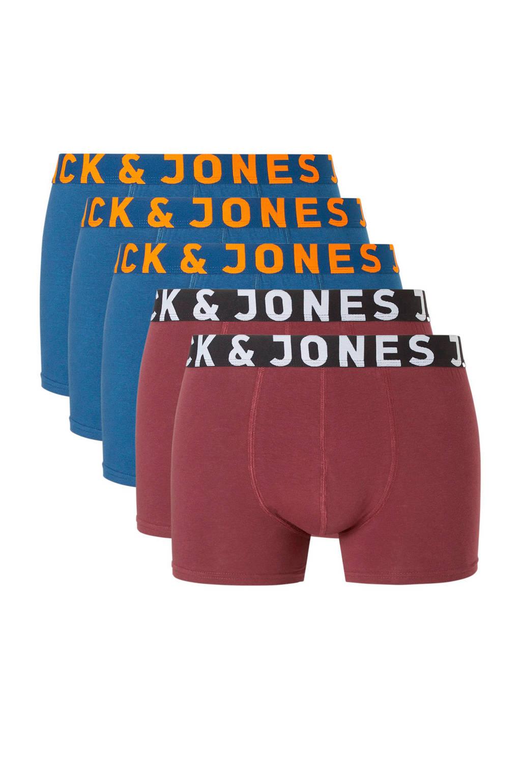 Jack & Jones boxershort (set van 5), Blauw/bordeaux