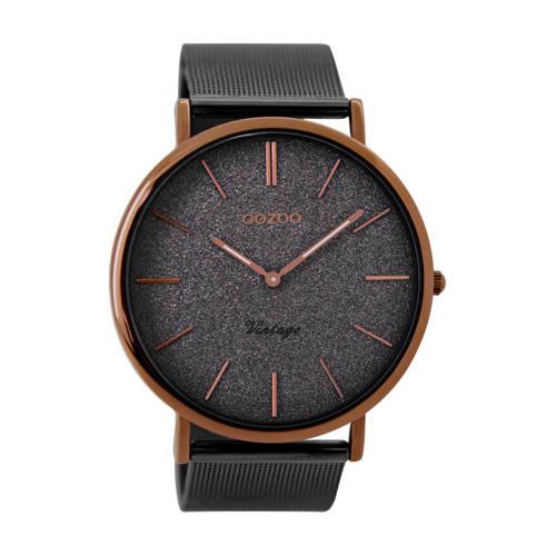 OOZOO Horloge Vintage staal bruin-donkergrijs 42 mm C8860