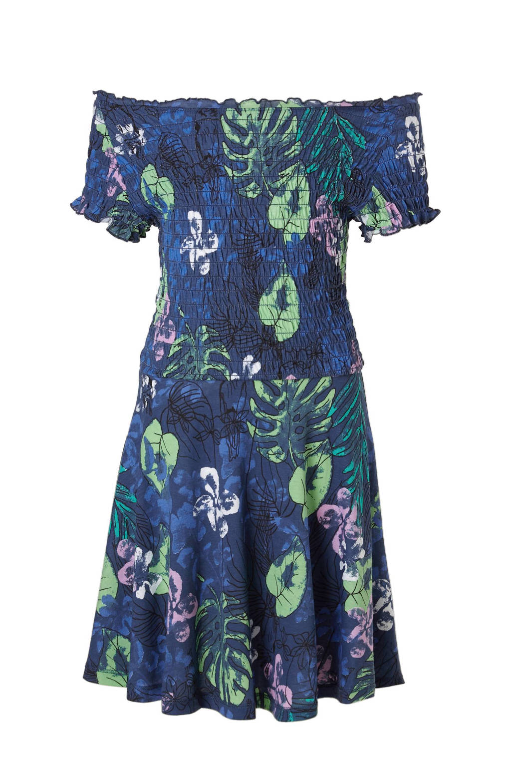 b554ee4d1285b7 s.Oliver jurk met all-over print donkerblauw
