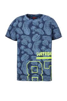 T-shirt met plantenprint donkerblauw