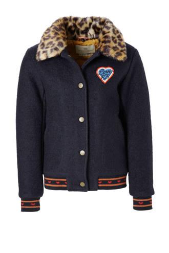 winterjas met wol en imitatiebont donkerblauw