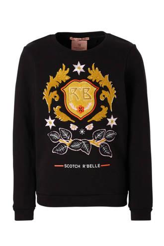 sweater met geborduurde print zwart