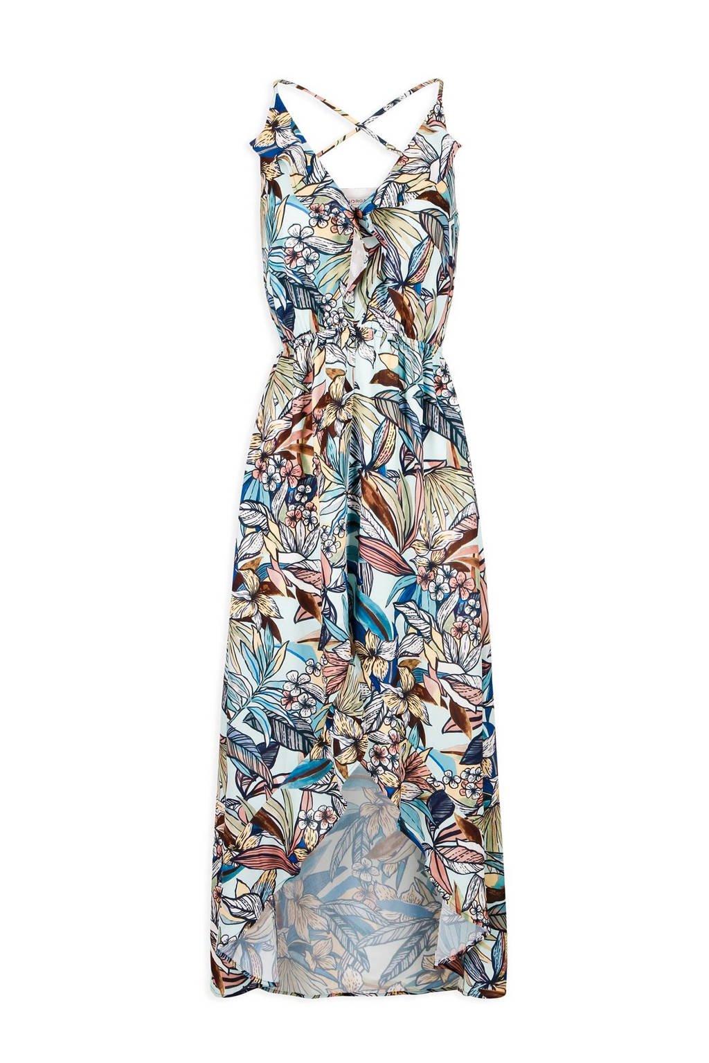 Morgan maxi jurk met bladeren, wit/beige/blauw