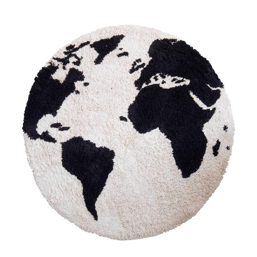 Kidsdepot vloerkleed El Mundo  (Ø110 cm), Zwart/wit