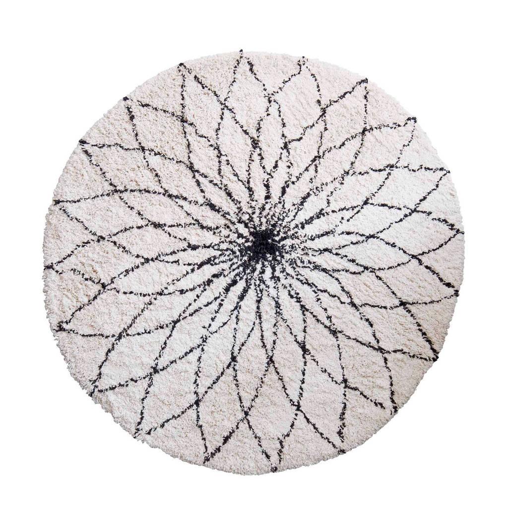 Kidsdepot vloerkleed Flower Power  (Ø110 cm), Wit/zwart