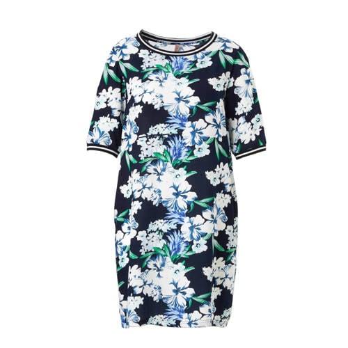 jurk met bloemenprint en contrast bies