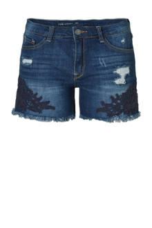 Yessica slim fit jeans short met borduursel blauw