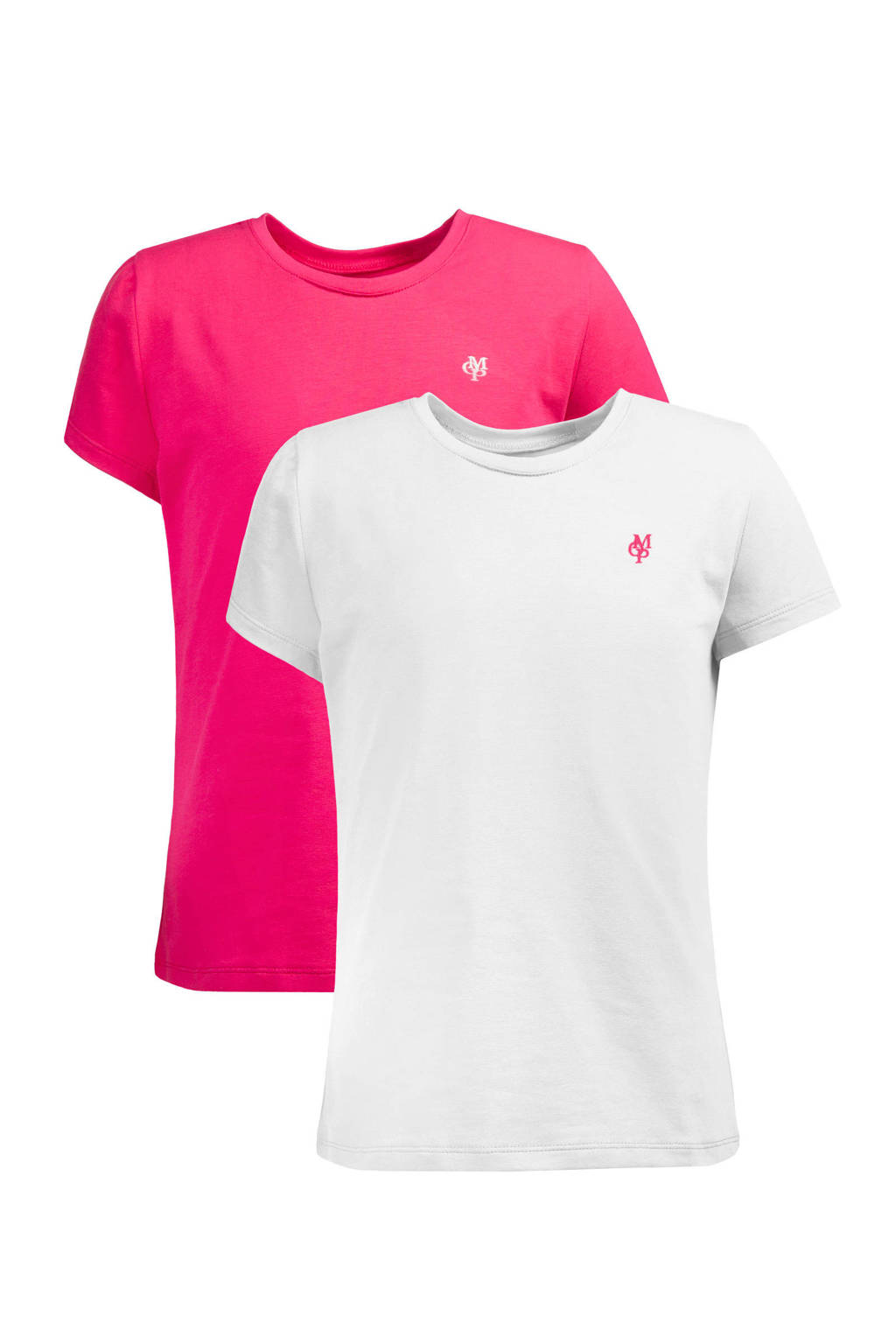 Marc O'Polo basic T-shirt fuchsia/wit, Fuchsia/wit
