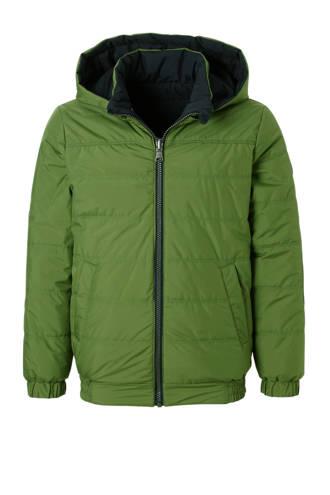 omkeerbare winterjas groen/blauw
