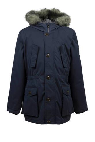 winterjas met dons donkerblauw