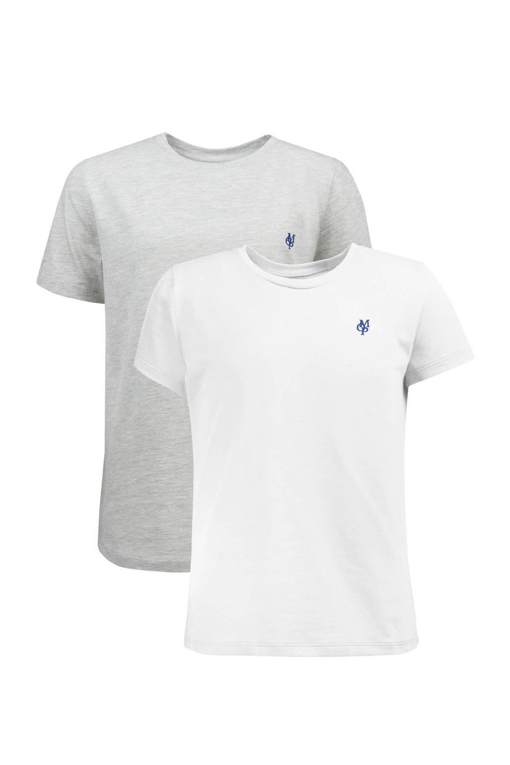Marc O'Polo T-shirt met korte mouwen (set van 2), grijs melange/ wit