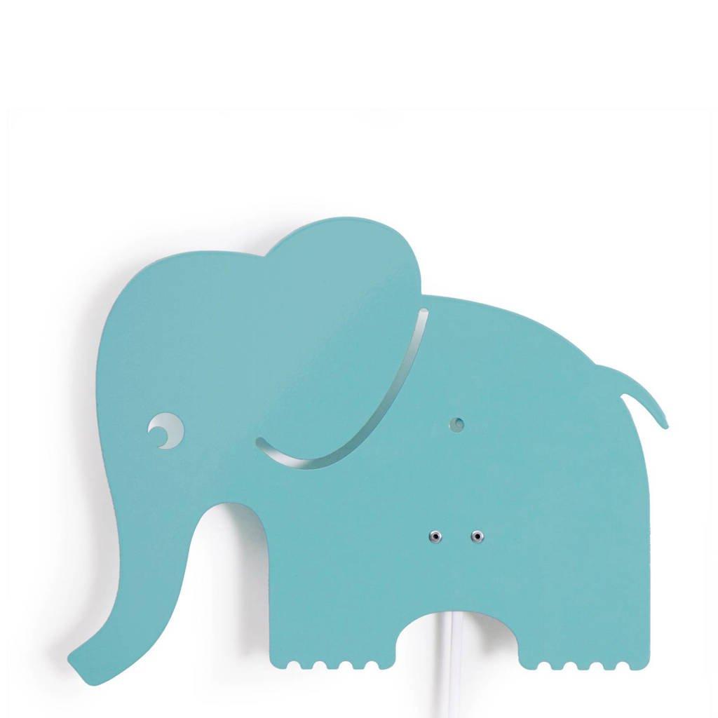 Roommate Elephant wandlamp pastel blauw-groen, Pastel blauw-groen