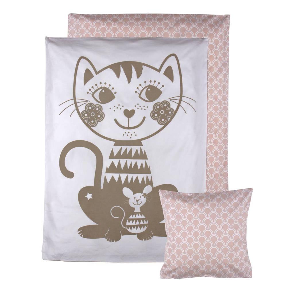 Roommate Soulmate Cat baby dekbedovertrek 70x100 cm, Grijs/roze