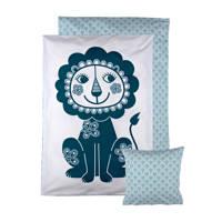 Roommate Soulmate Lion baby dekbedovertrek 70x100 cm, Blauw/wit