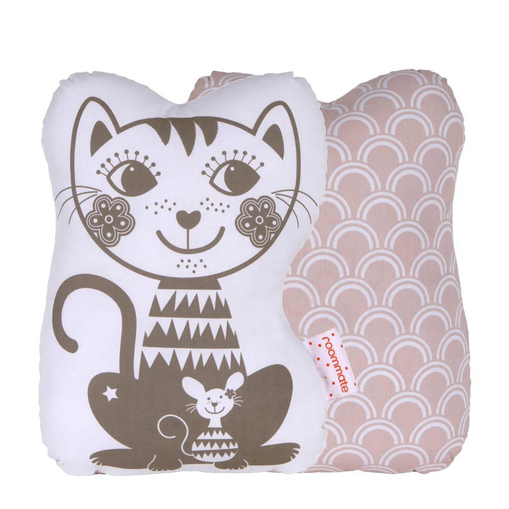 Roommate Soulmate Cat knuffelkussen (33x27 cm), Roze