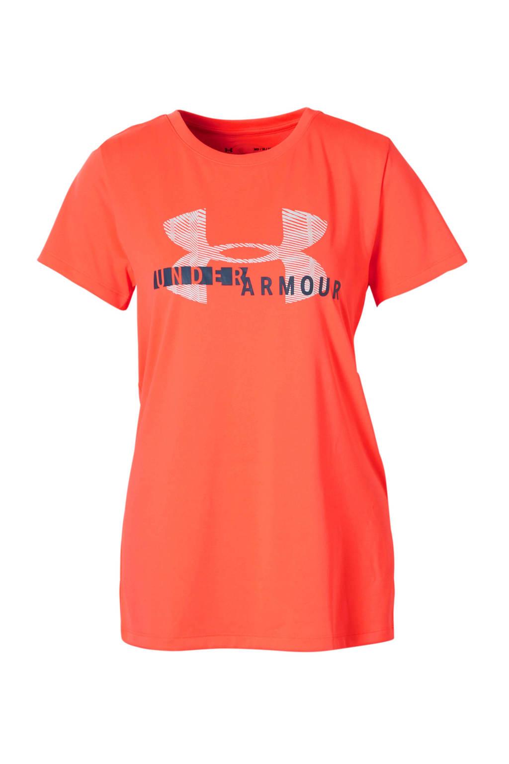 Under Armour sport T-shirt met print koraalrood, Koraalrood