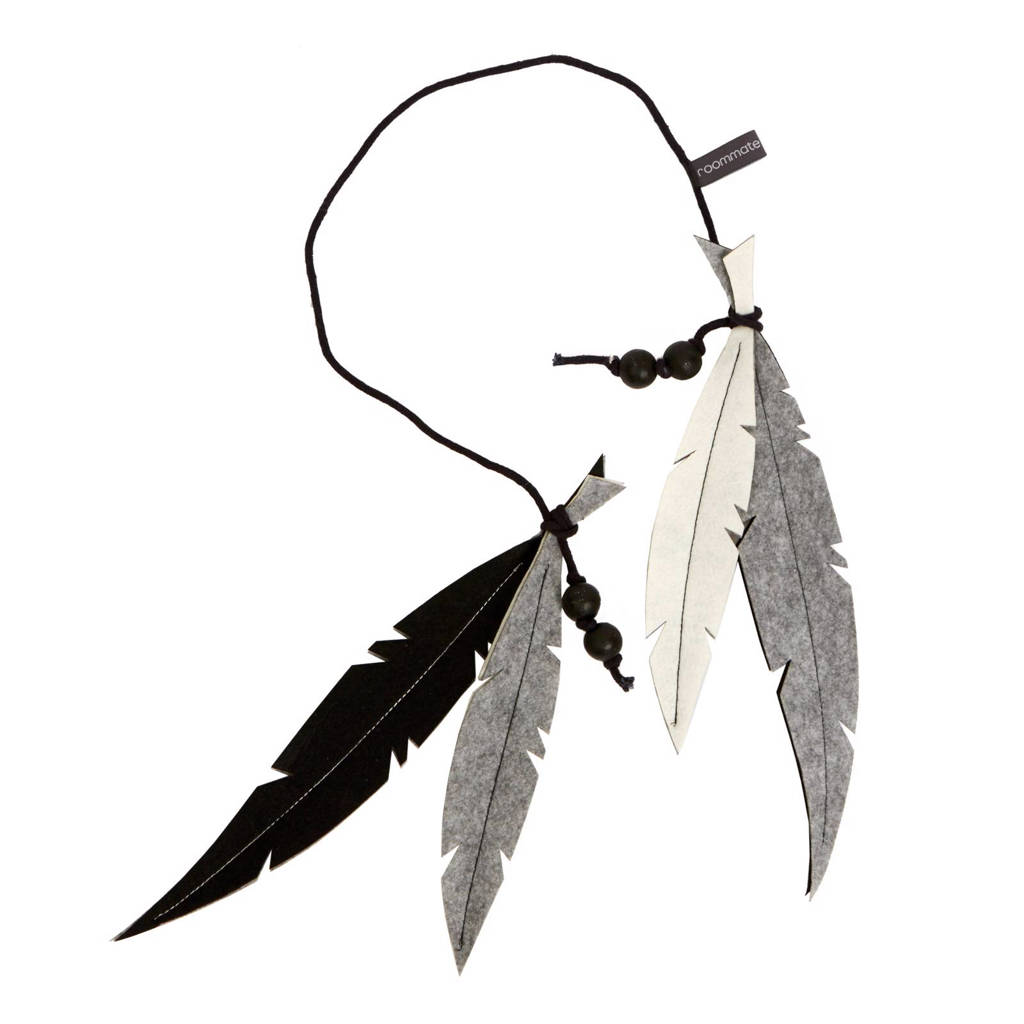 Roommate Feather mobiel zwart/wit, Zwart/wit
