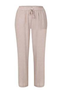Miss Etam Plus loose fit 7/8 broek met linnen zand