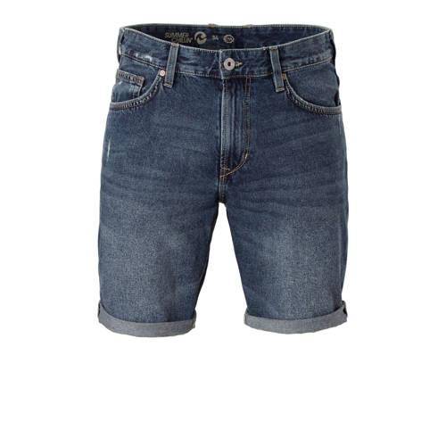 slim fit jeans short met rafels