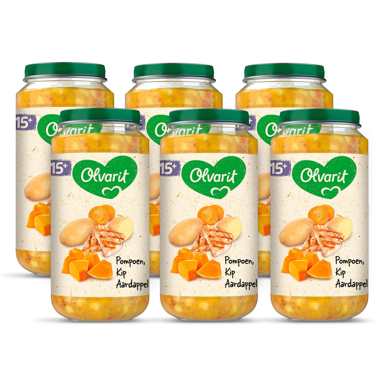 Olvarit babyvoeding pompoen kip aardappel 15+ mnd (6 x 250 gram)