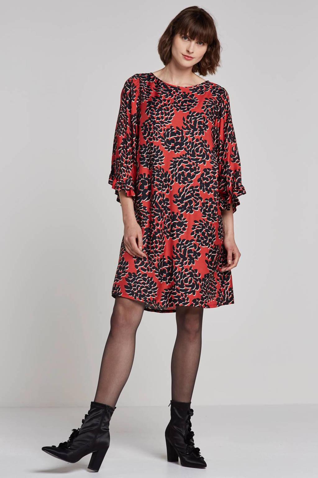 Summum Woman jurk met zijde, Rood/zwart