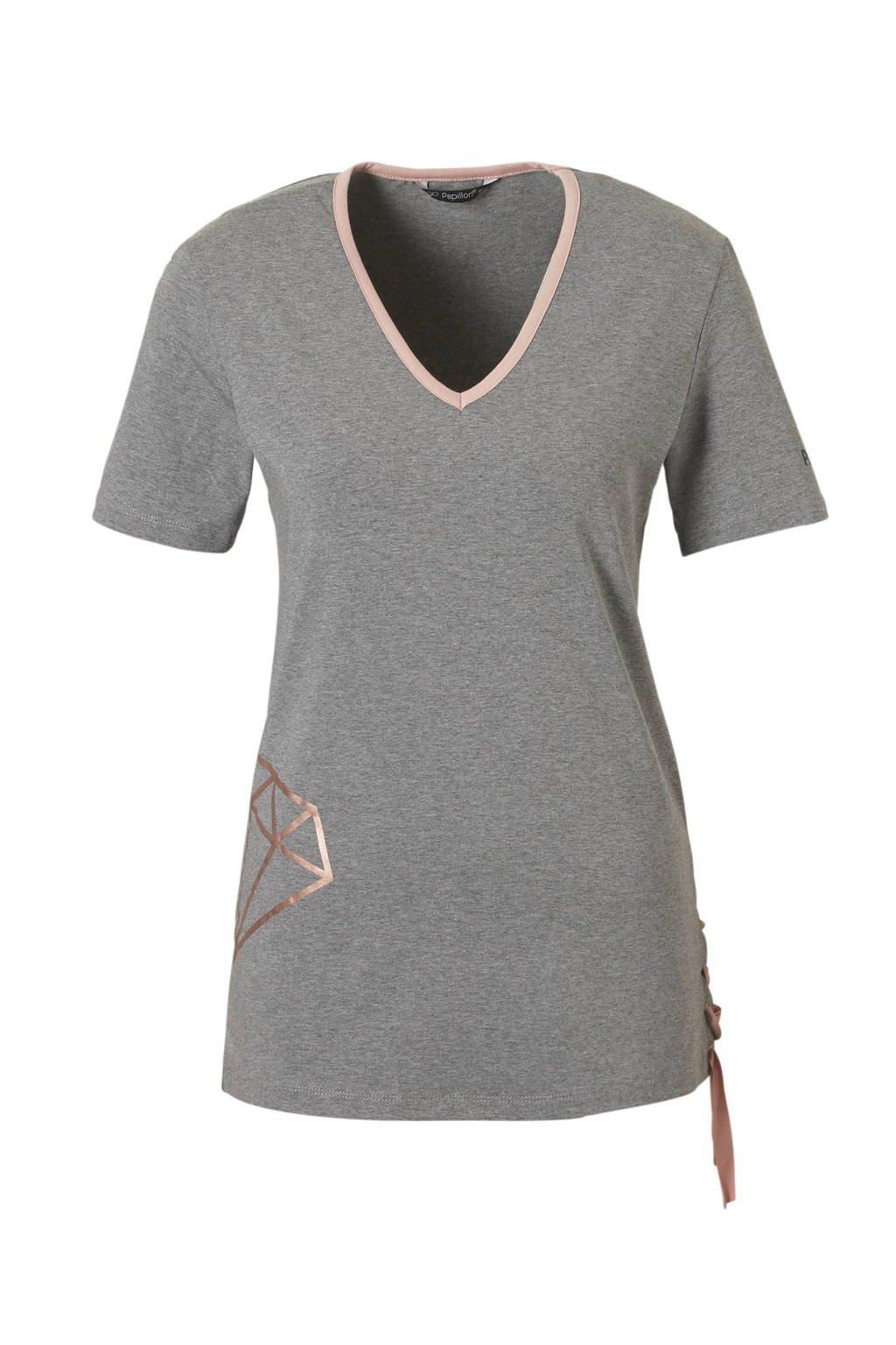 Papillon sport T-shirt grijs, Grijs/roze