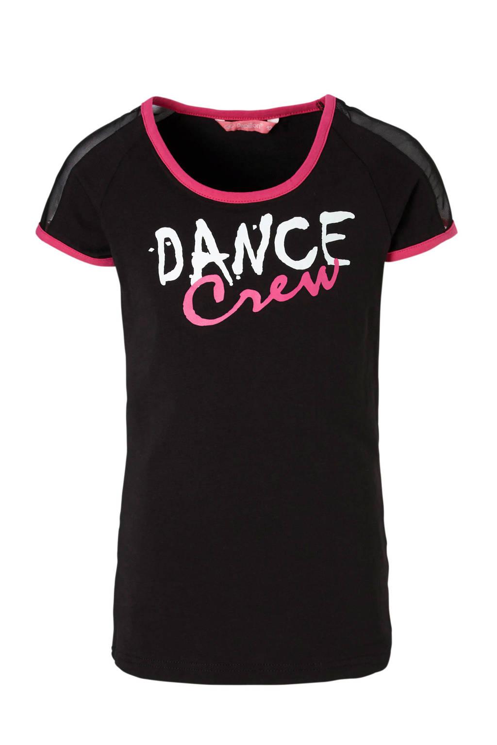 Papillon sport T-shirt zwart, Zwart/roze