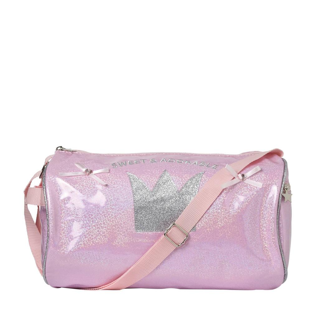 Papillon   sporttas roze met glitters, Roze