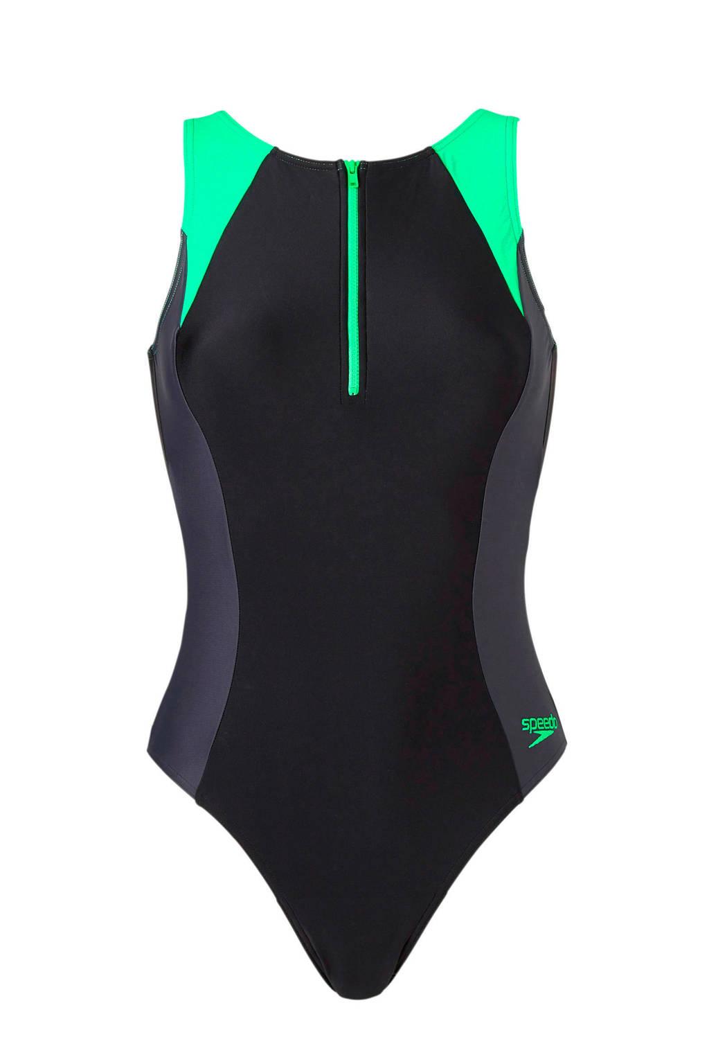 Speedo Endurance 10 sportbadpak met rits zwart, Zwart/groen/grijs