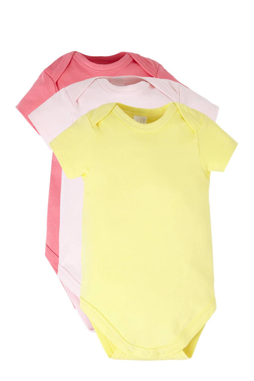 C&A Baby Club romper (set van 3), Lichtroze/fuchsia/geel