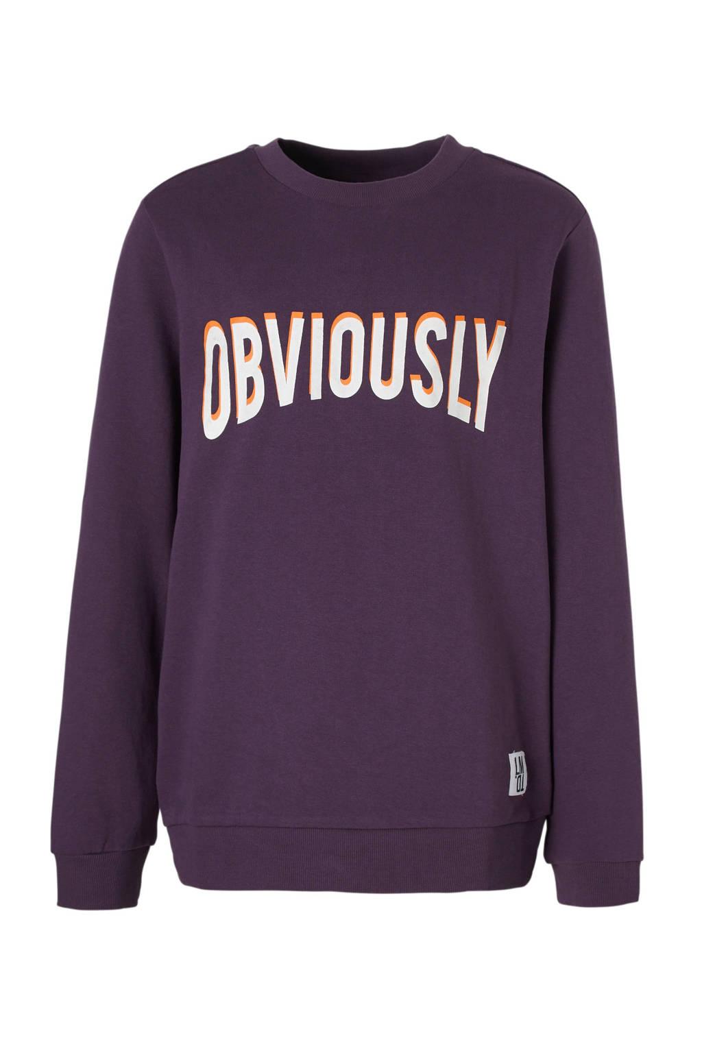 LMTD sweater Nester met tekst paars, Paars/wit/oranje