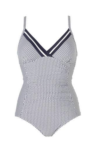 Women Beach corrigerend badpak met all over print blauw/wit