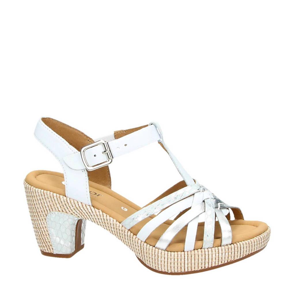 Gabor sandalettes met metallics, Wit/zilver