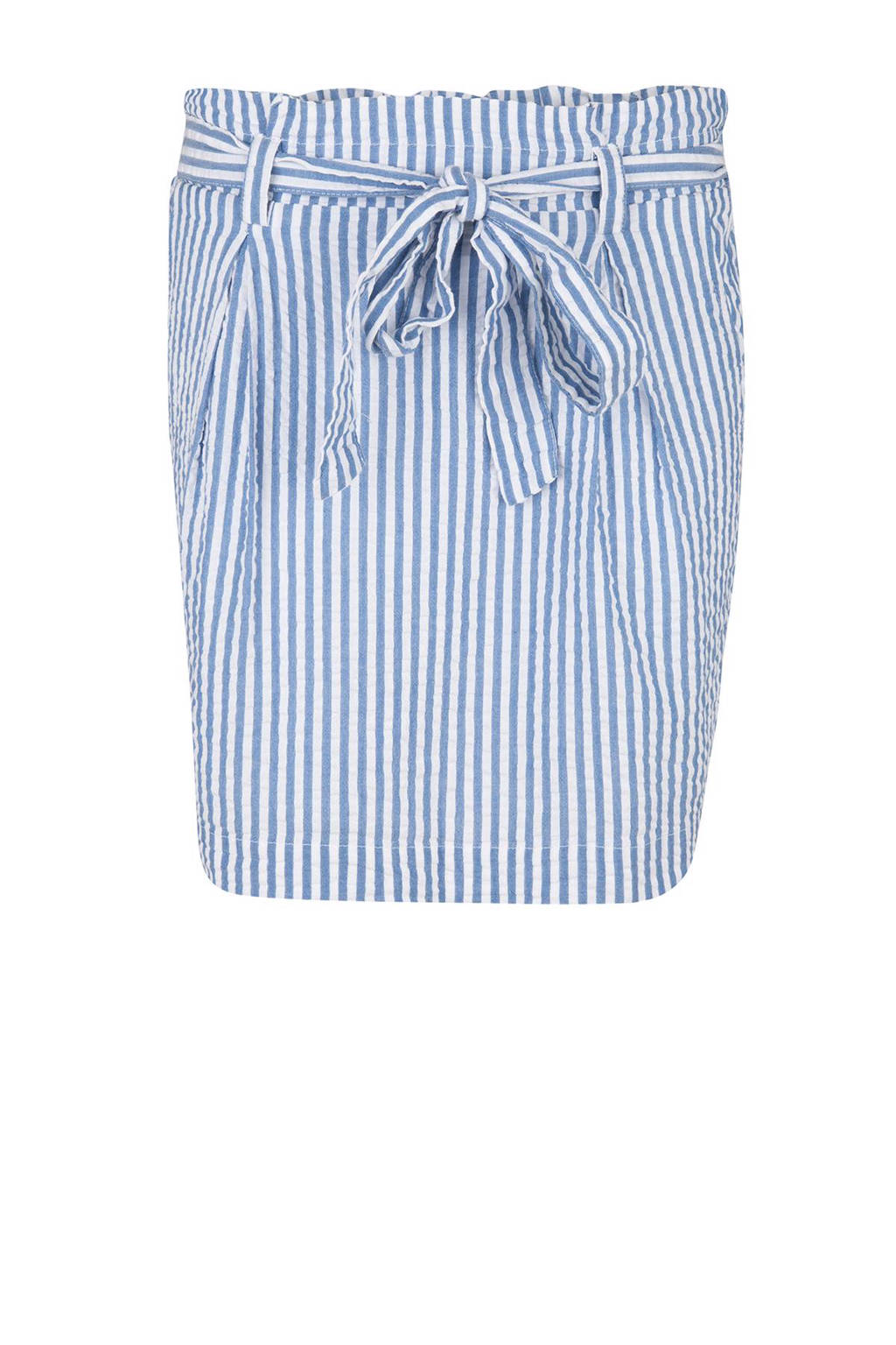 WE Fashion gestreepte paperbag rok, Blauw/wit