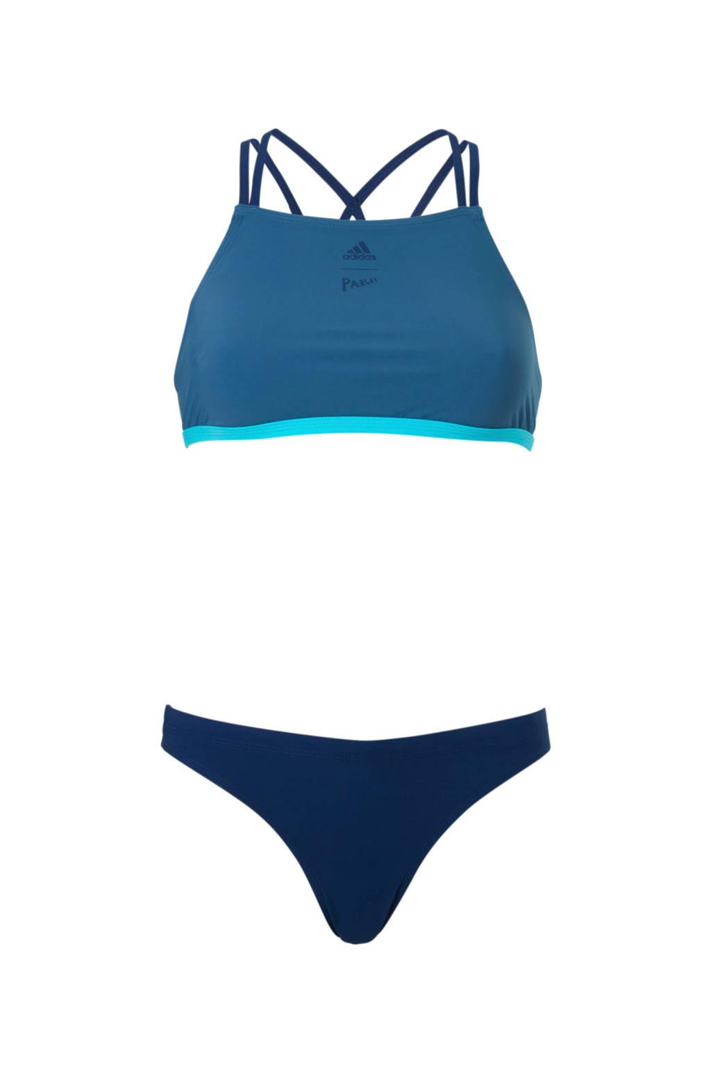 adidas performance infinitex crop bikini blauw, Blauw/aqua
