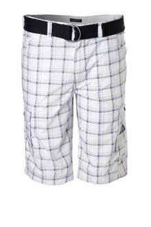 XL Canda geruite bermuda met riem wit