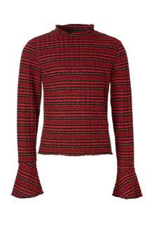 dunne gestreepte trui Sif rood