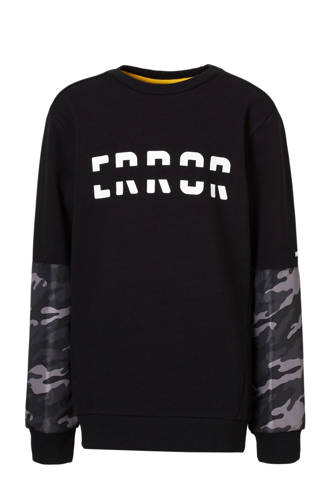sweater met camouflage detail zwart