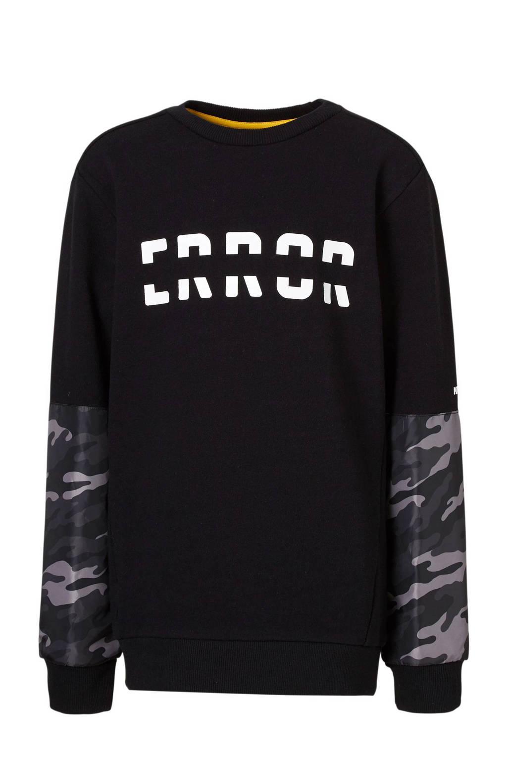 Mitch sweater met camouflage detail zwart, Zwart