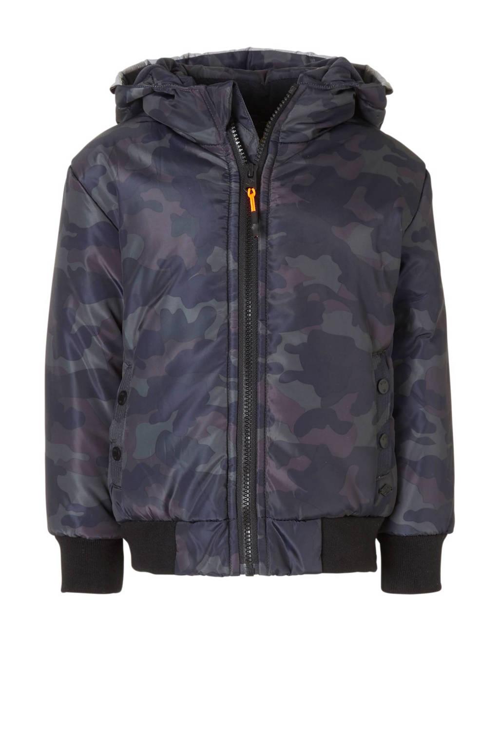 Mitch winterjas met camouflageprint donkerblauw, Donkerblauw/kaki