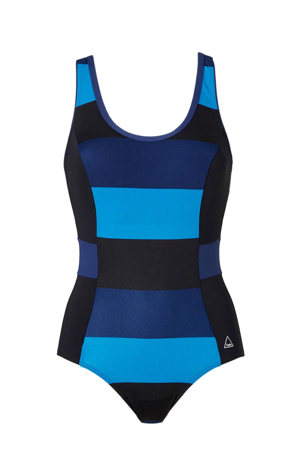 Tweka badpak met kleurvlakken zwart/blauw, Zwart/blauw