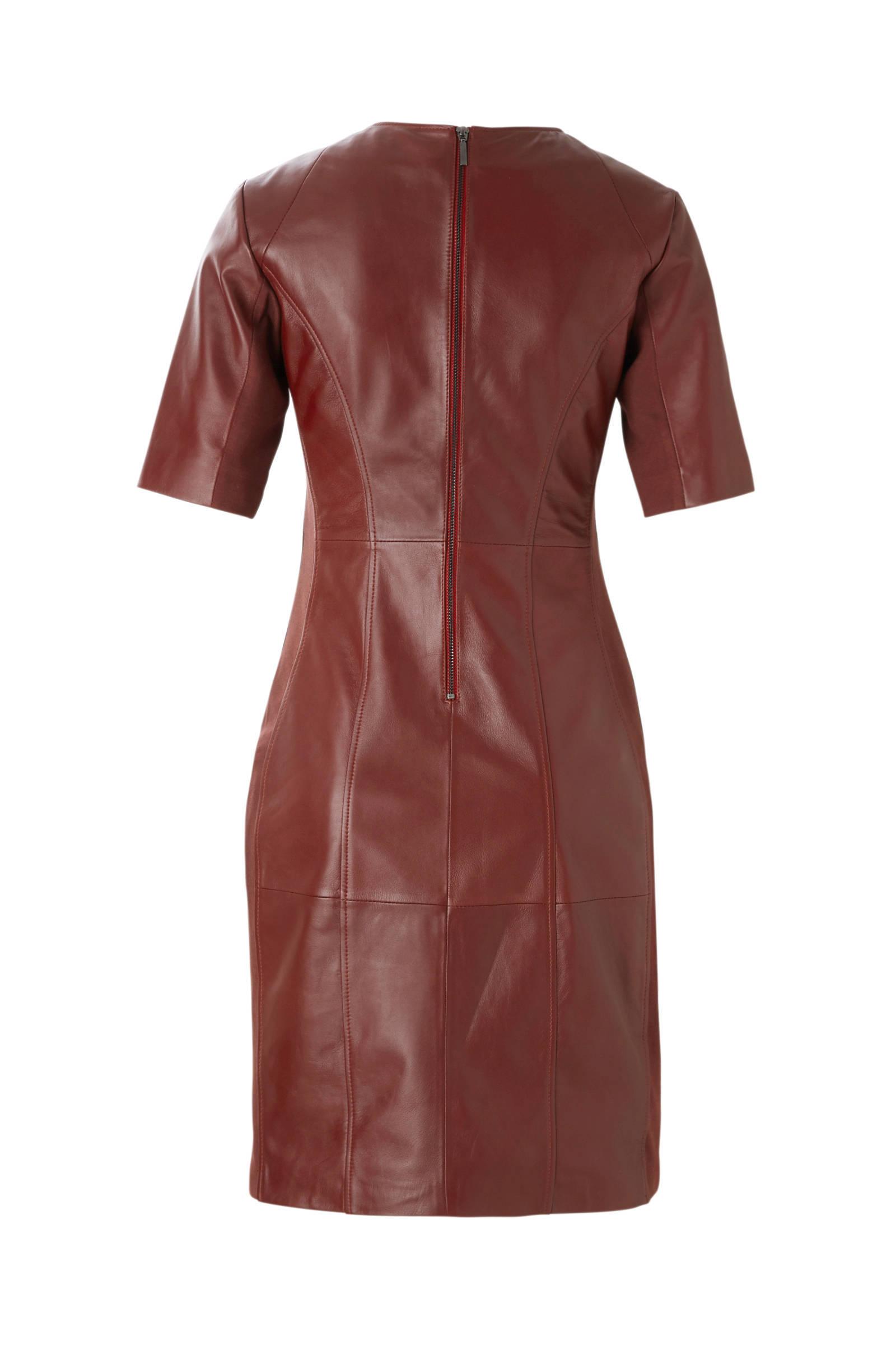 rode leren jurk