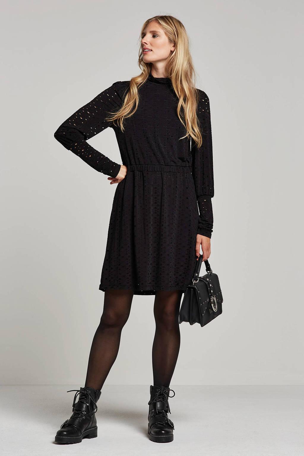 OBJECT jurk met opengewerkte details, Zwart