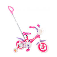 Disney Minnie Mouse kinderfiets 10 inch Roze/Wit/Paars, 10 inch / 86 - 98