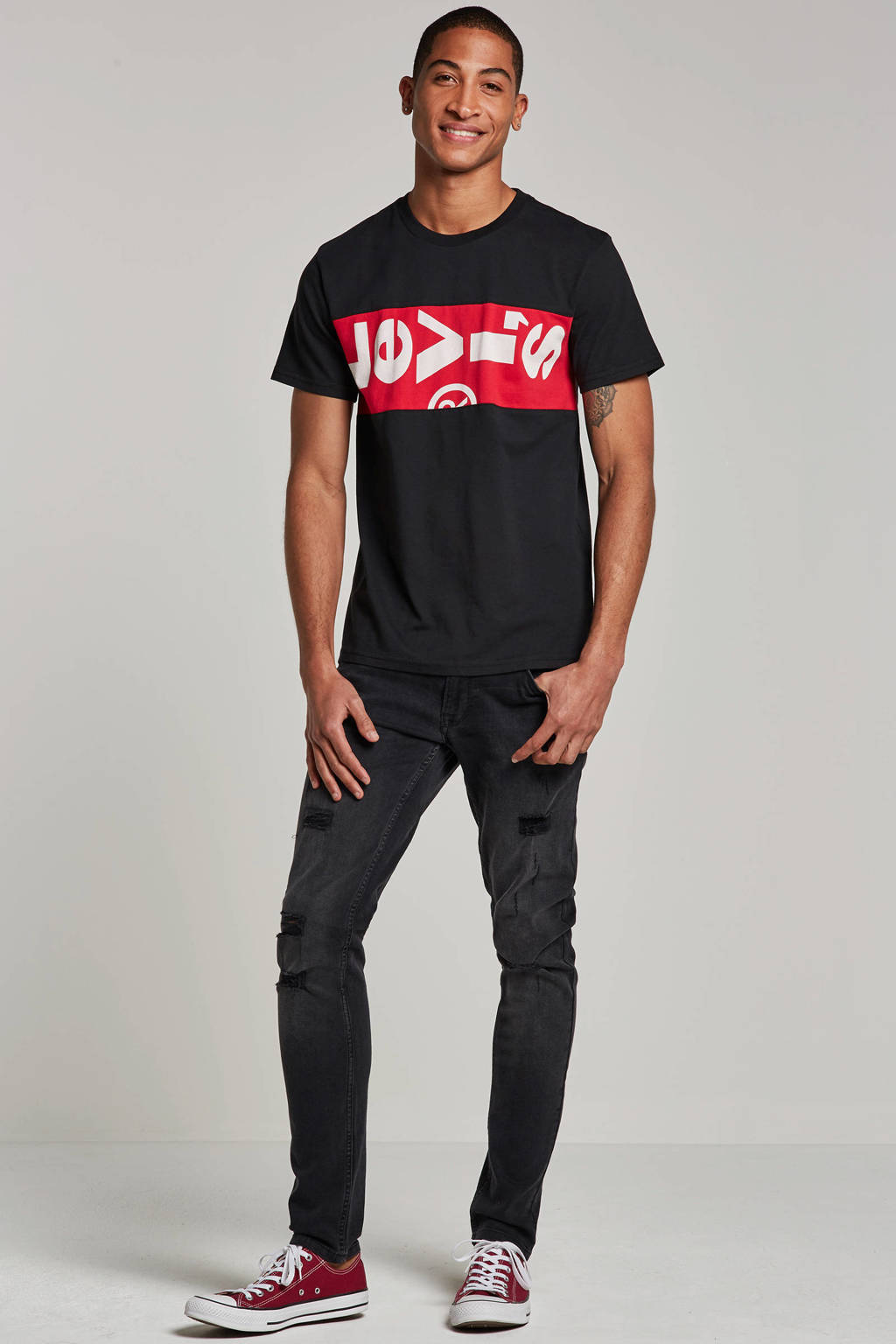 Redefined Rebel slim fit jeans Stockholm Destroy, Black