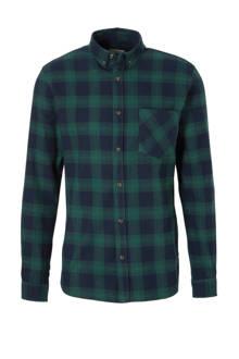 geruite slim fit overhemd groen