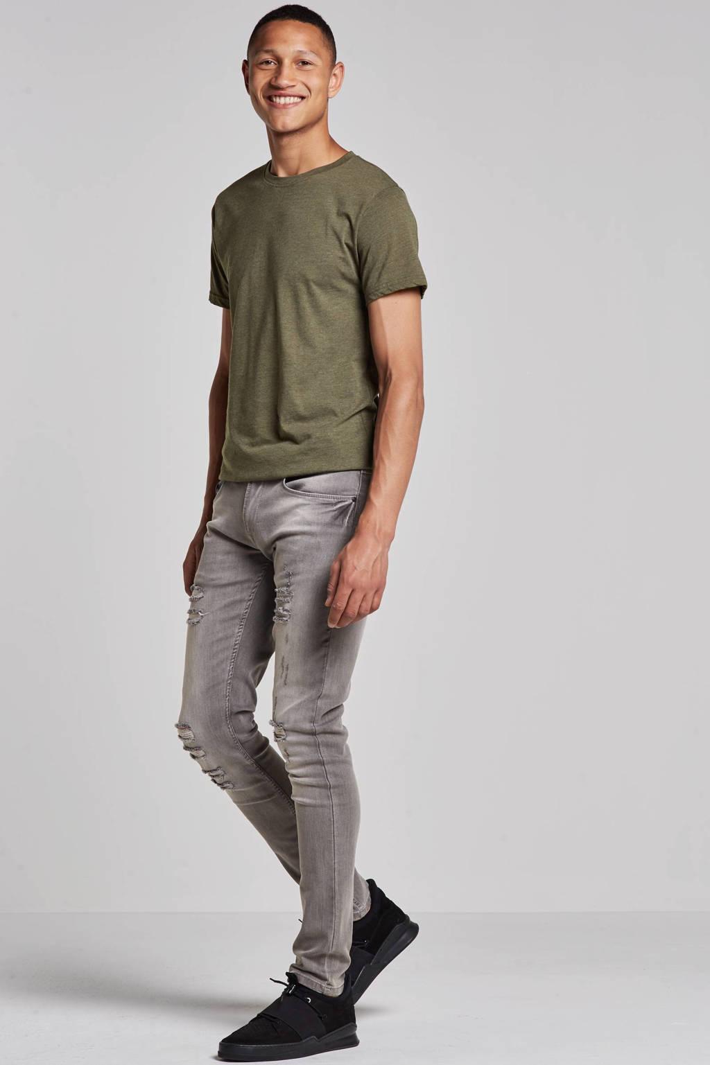 Redefined Rebel slim fit jeans Stockholm Destroy, Light Grey