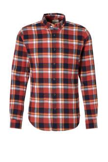geruite slim fit overhemd rood